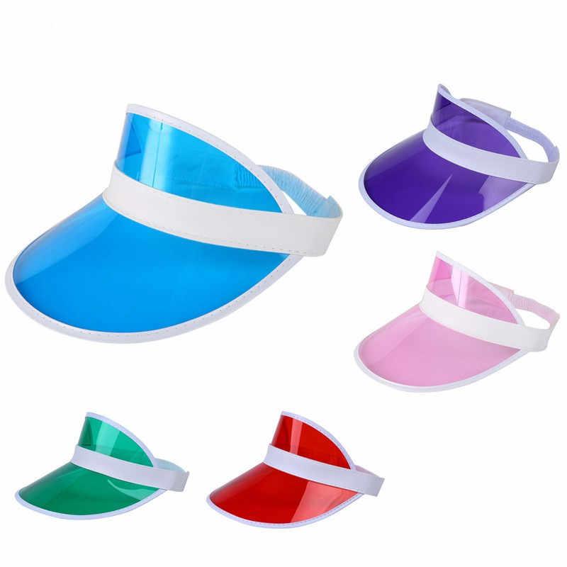 夏ユニセックス女性男性太陽の帽子キャンディーカラー透明空のトッププラスチック PVC サンシェード帽子バイザーキャップ自転車 Sunhat 卸売