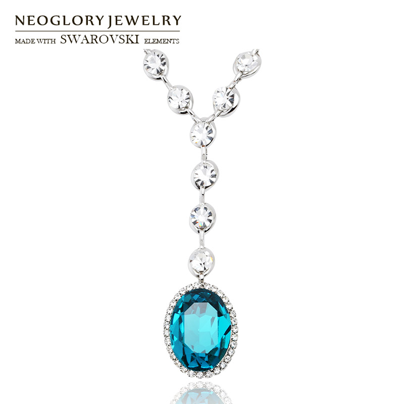 Neoglory Austria Rhinestone Crystal Necklace Exquisite Geometric Oval Design Alloy Plated For Lady Brand Jewelry Gift