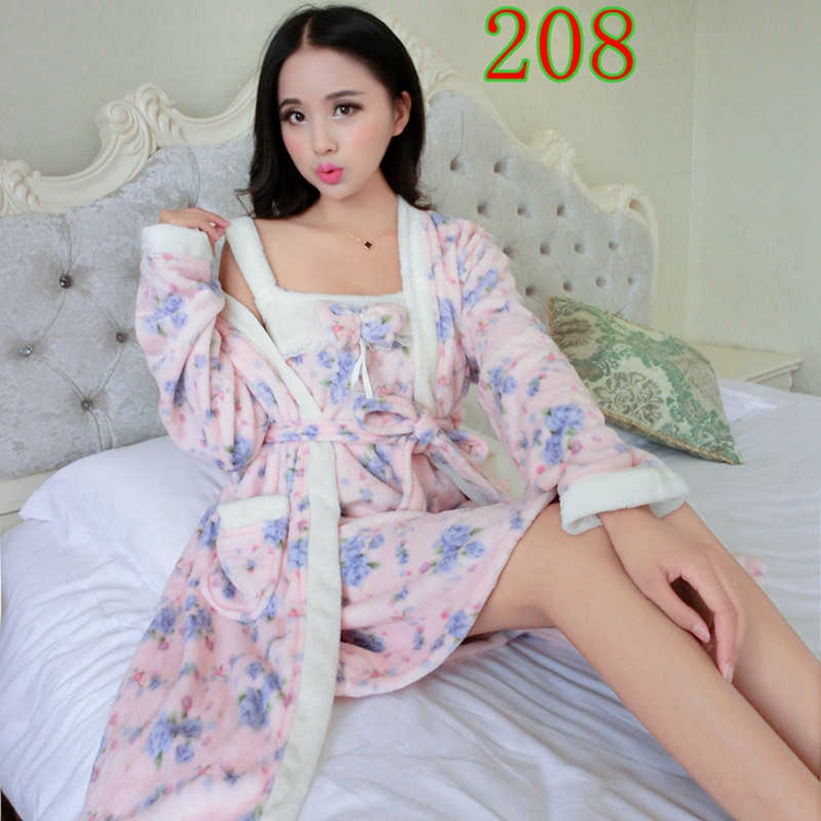 2PCS Sexy Thick Warm Flannel Robes Sets for Women 2018 Winter Coral Velvet Lingerie Night Dress Bathrobe Two Piece Set Nightgown 266