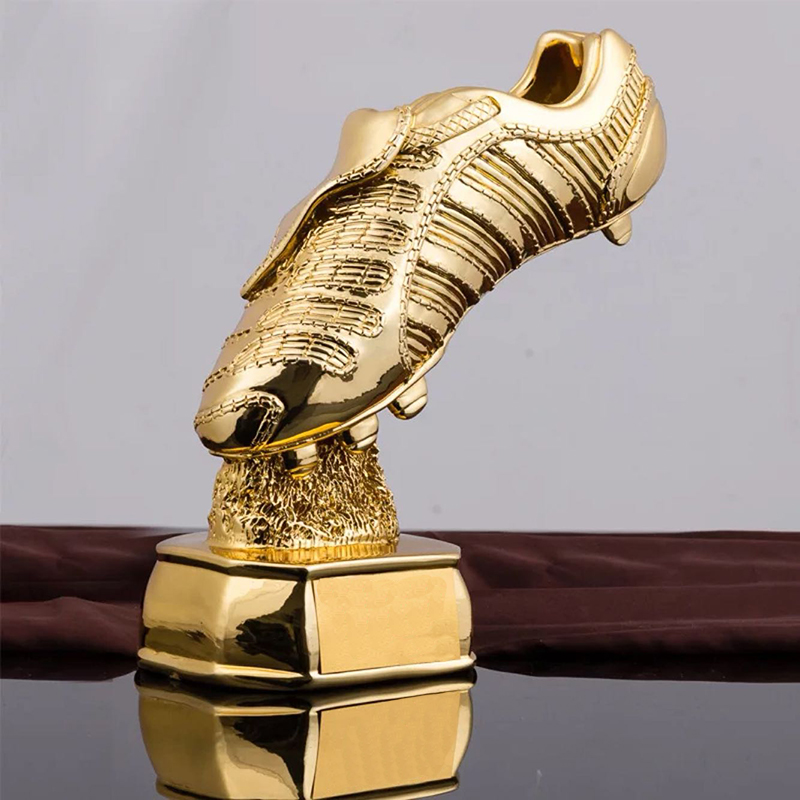 28cm Height Best Shooter Award Trophy Football Boot Champions Award Shoes Shape Cup Fans Souvenir Resin