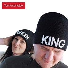 New KING QUEEN Beanies Knit cap Couple Winter Caps Skullies Bonnet Winter Hats For Men Women Beanie Outdoor Ski Sports Warm Cap
