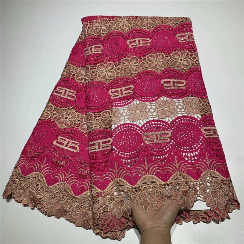 African tulle lace fabrics high quality 5 Yards Embroidered African cord lace for wedding New arrival