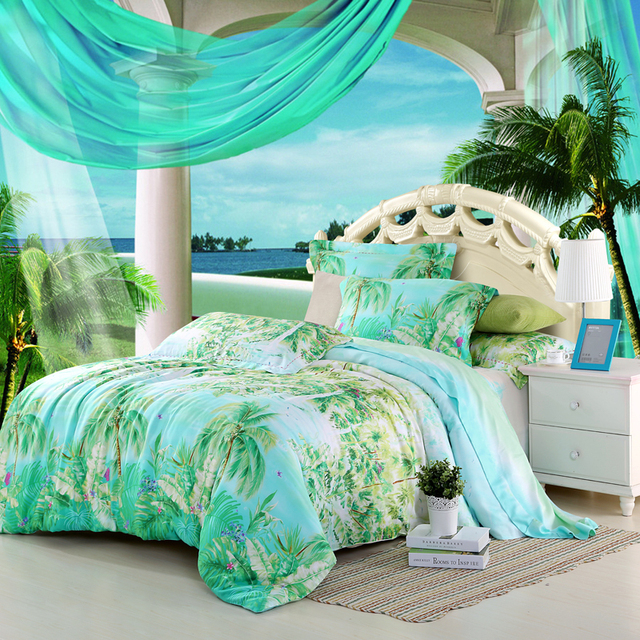 Preferred Blue green turquoise bedding sets queen king size palm tree silk  GO56