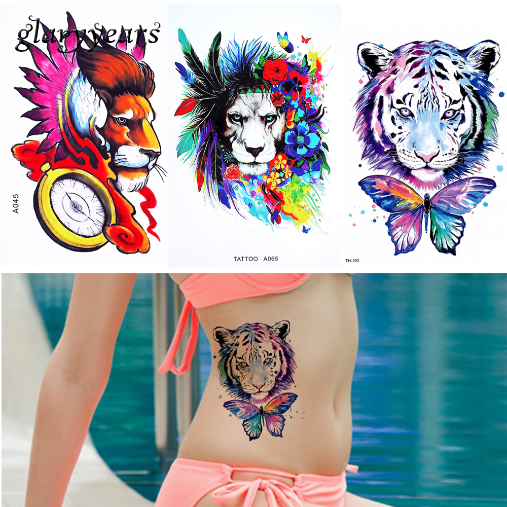 3 Piecesset Temporary Waterproof Body Art Tattoo Sticker Colored Mysterious Moon Cat Lion Pattern Beauty DIY Body Tattoo Makeup