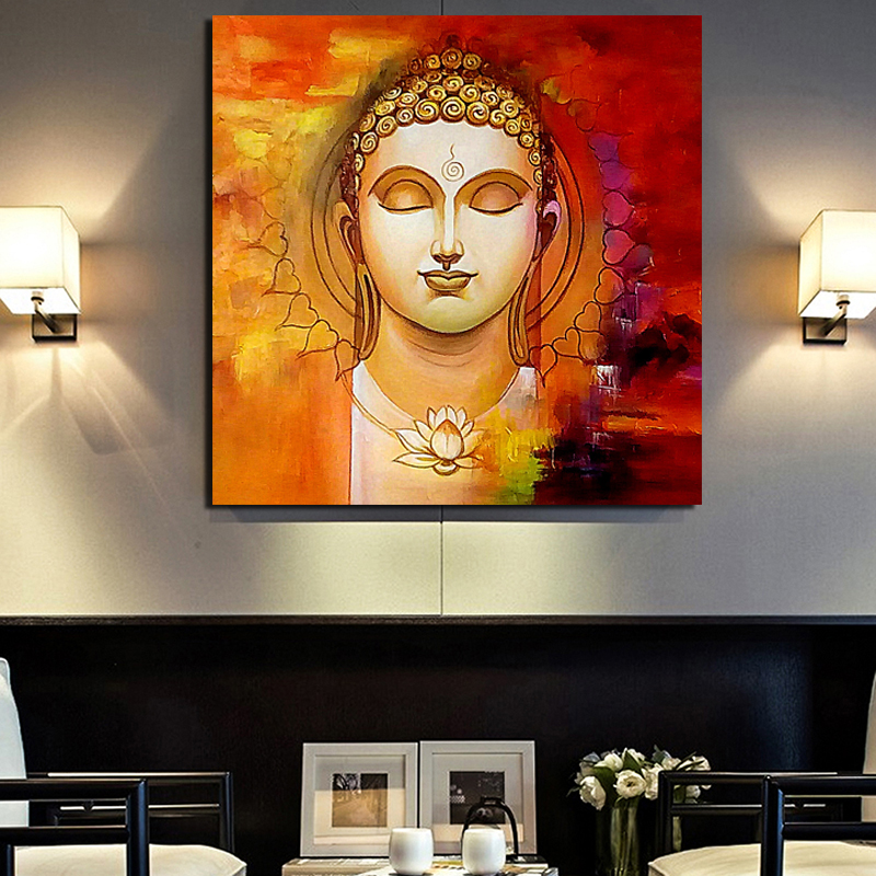 Gautam Buddha With Lotus Wall Art Canvas Painting Posters Prints Modern Picture For Living Room Home Decor Artwork
