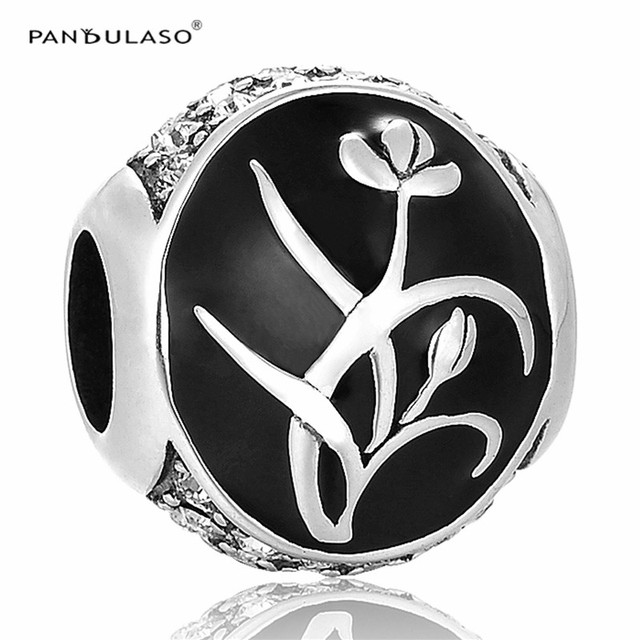 Daffodils Black & White Beads Fit Pandora Charms Silver 925 Original Bracelet 2016 New DIY Charm Silver Beads for Jewelry Making