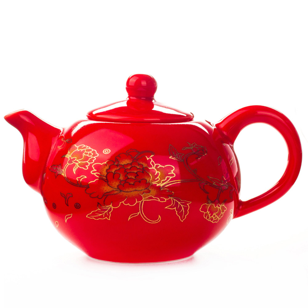 China Teapot Porcelain Red wedding tea set Hadiah Perayaan Ceramic Classical Chinese Kungfu Tea Cup Kettle Infuser 177ML D006