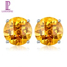 Lohaspie Solid 14K white Gold 4mm/5mm/6mm Checkerboard Cutting Natural Citrine Stud Earrings New For Women's Fine Jewelry