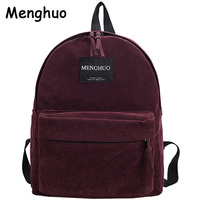 2016 New Women Backpack Preppy Style Suede Backpacks Teenage Girls School Bags Vintage Rivet Travel Backpack