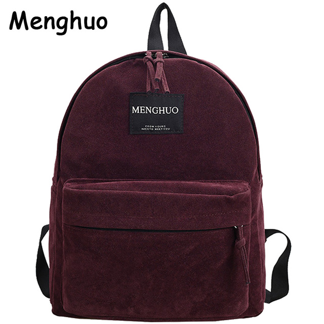 Women Backpack Preppy Suede Backpacks Girls School Bags Vintage Backpack Travel Bag Female Backpack Burgundy Gray Black Mochila