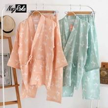 Hot sale Spring 100% cotton japanese pajamas women gauze cotton simple pijamas mujer casual kimono sets for women SPA Robes