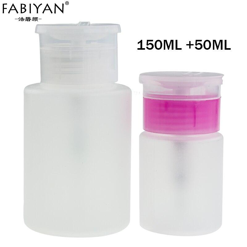Lot 2pcs 50ML + 150ML Empty Bottle Pump Dispenser Plastic Polish Remover Cleaner Portable Makeup Nail Art Manicure