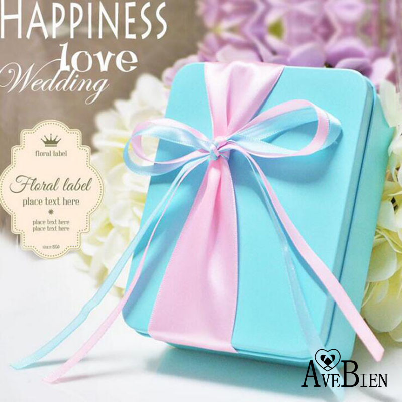 AVEBIEN New Tiffany Blue Wedding Supplies Candy Box Wedding Favors and Gifts for Guests Baby Shower Gift Cookies Candy Box 10pcs