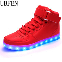 Wholesale Cheap Led Luminous Neon Basket Casual Shoes Women Men High Glowing With Charge Lights Up