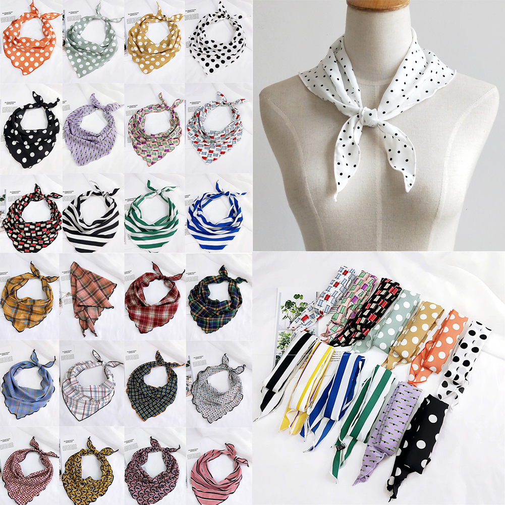 33*85cm Small Silk Scarf Striped Polka Dot Print Head Neck Hair Tie Band Women Girls Elegant Soft Triangle Neckerchief Scarves