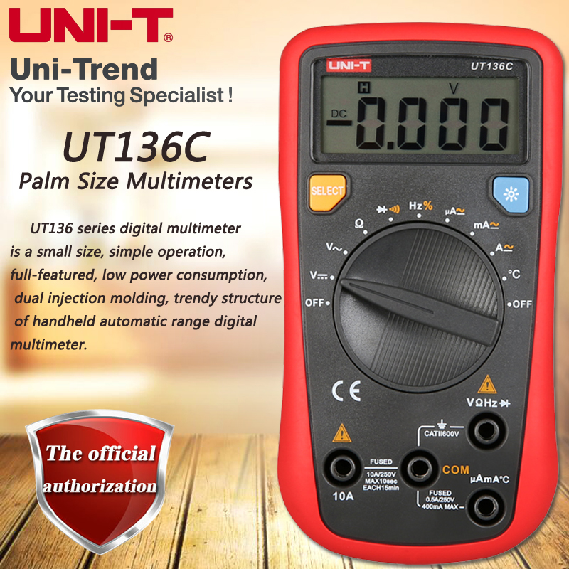 UNI-T UT136C Palm Size Multimeters, Auto Range DMM Resistance / Temperature / Frequency / Duty Cycle / Diode Test LCD Backlight