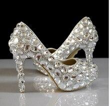 crystal rhinestone women wedding shoes white bridal shoes  high-heel shoes