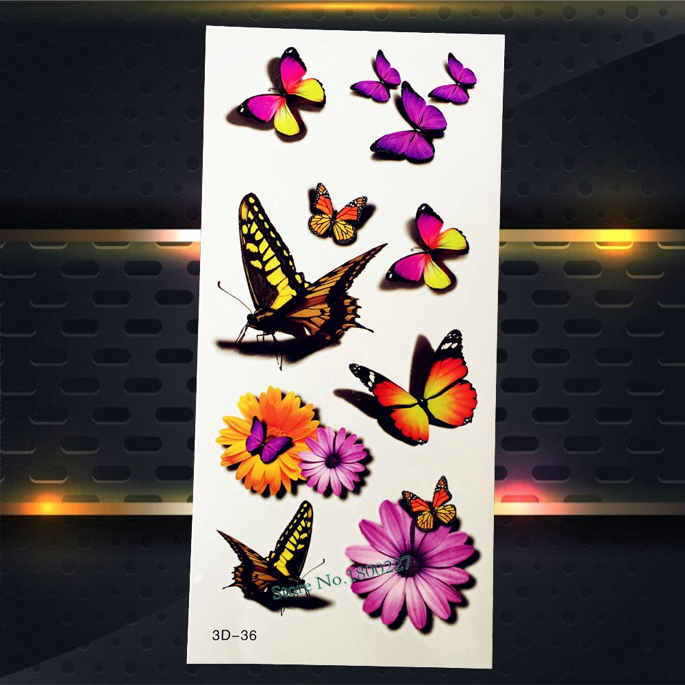 1PC Butterfly Flower Henna Flash Removable Tattoo Women Girl Makeup Jewelry Stickers P3D-36 Body Art Arm Shoulder Face Tattoos