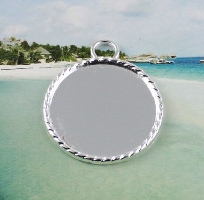 150Pcs 1 Silver Color plated Cabochon Settings Pendant Trays glue on bail picture frame Round Charms
