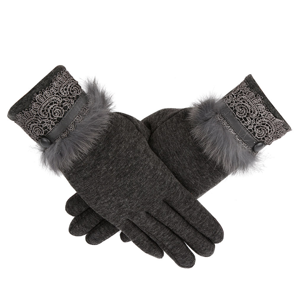 Women Female Gloves Winter Warm Cashmere Keep Warm Driving Full Finger Gloves Touch Screen Ladys Glove Luvas Guantes 18Nov(China)