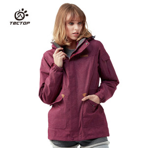 Tectop womens Outdoor Long section Jackets waterproof windproof keep warm Breathable shell+Liner Two pieces hiking jacketsTectop womens Outdoor Long section Jackets waterproof windproof keep warm Breathable shell+Liner Two pieces hiking jackets