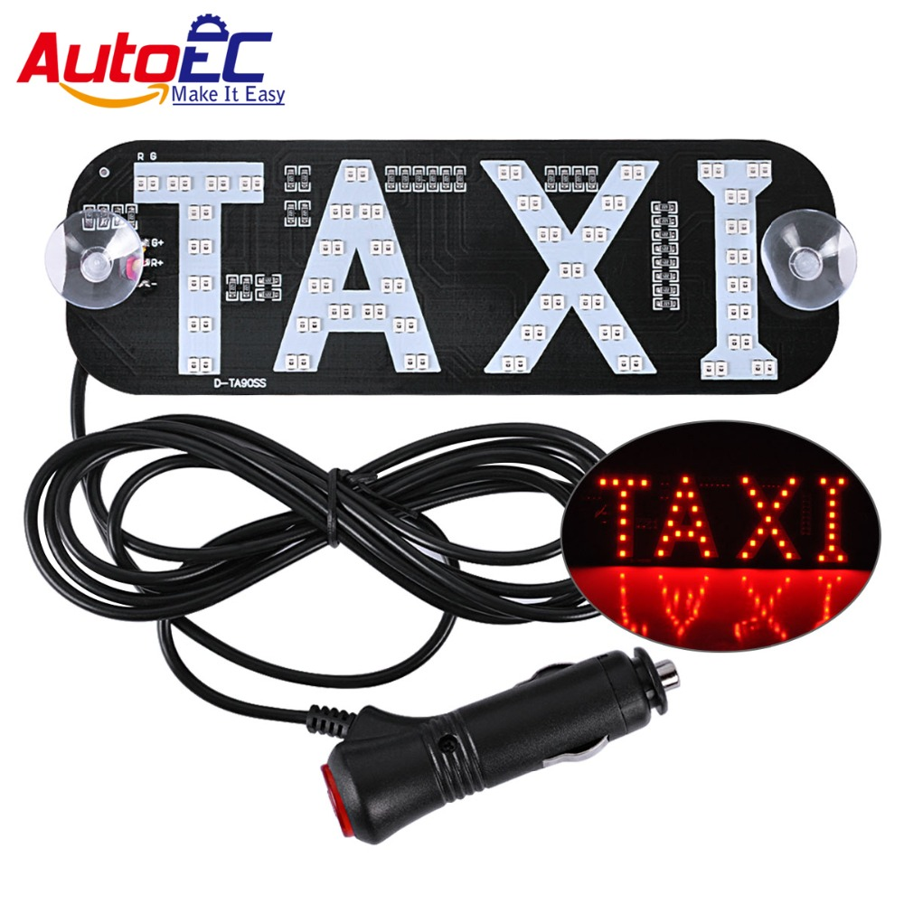 AutoEC 1x Taxi LED Light dual colors Car Windscreen Cab indicator Sign Windshield Taxi Lamp 12V with Cigarette lighter #LQ924
