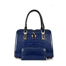 2016 New Arrival!high Quality Fashion Bright Skin PU Material Noble Crocodile-embossed Handbag Alligator Single Shoulder Bag