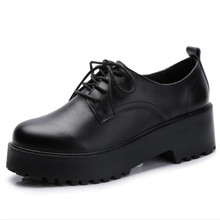 Fall and winter new womens shoes leather waterproof platform thick with a single British fashion selling small
