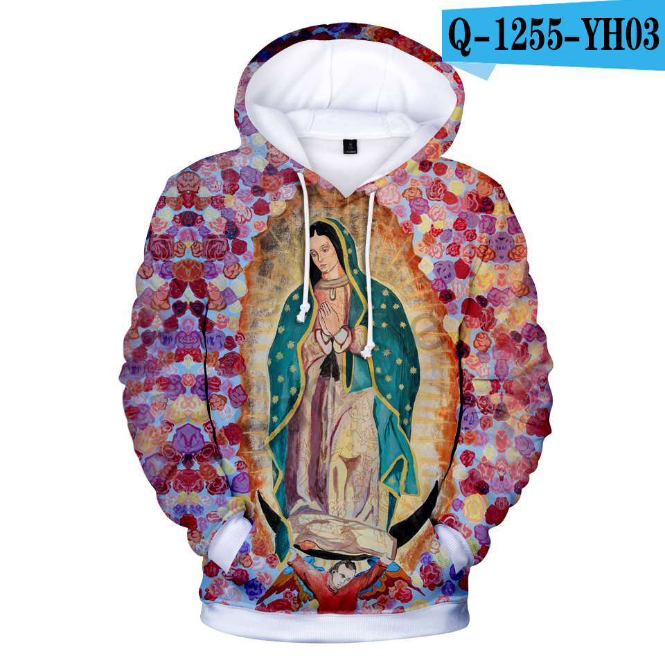 2018 Our Lady of Guadalupe 3D Cool Hoodies Fashion Autumn Hoodies 3D Fashion Warm Long Sleeve Popular Sweatshirts Hooded Clothes