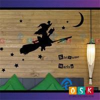 Anime Oriental magic to make fog rain Li Sha silhouette paste living room bedroom wall stickers