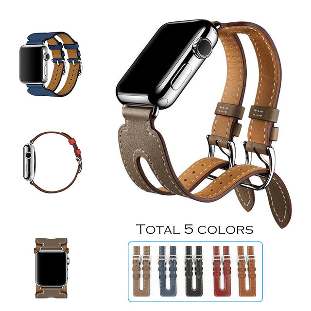 URVOI band for apple watch Series 2 genuin leather strap Double Buckle Cuff for iwatch Modern fashion design 38mm 42mm available
