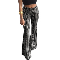 Women Floral Printed Bell Bottom Trousers Casual Wide Leg Pants Stretch High Waist Boho Flare Pants Sof Women Trousers