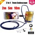 Preto 7 MM Cobra USB Endoskop Câmera Endoscopio Câmera 2EM1 Telefone Android MicroUSB OTG Camera Endoscópio Câmera Do Telefone Android