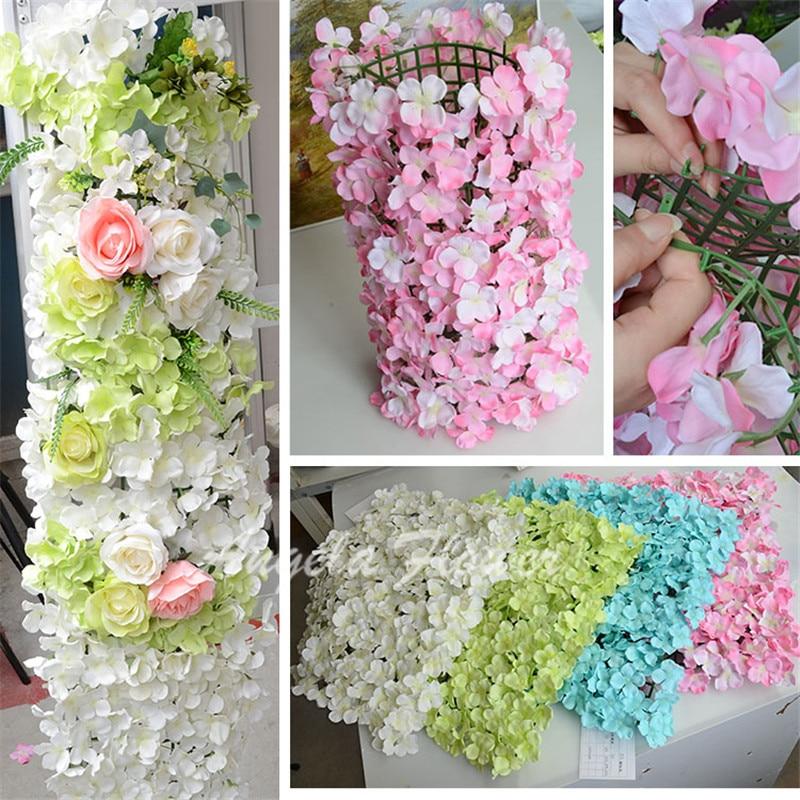 DIY Colorful Hydrangea Wedding Decor Flower Pillar