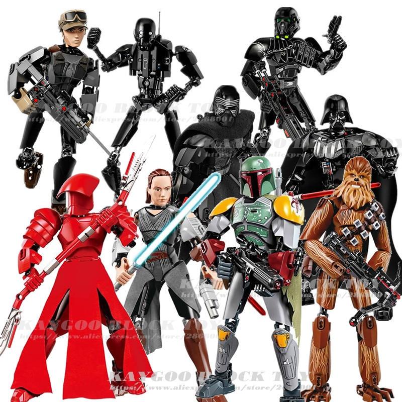 Star Series Space War 8 Last Jedi Figures Kylo Ren Phasma Chewbacca Royal Guard Rey Darth Vader toys building blocks HW-SD005-