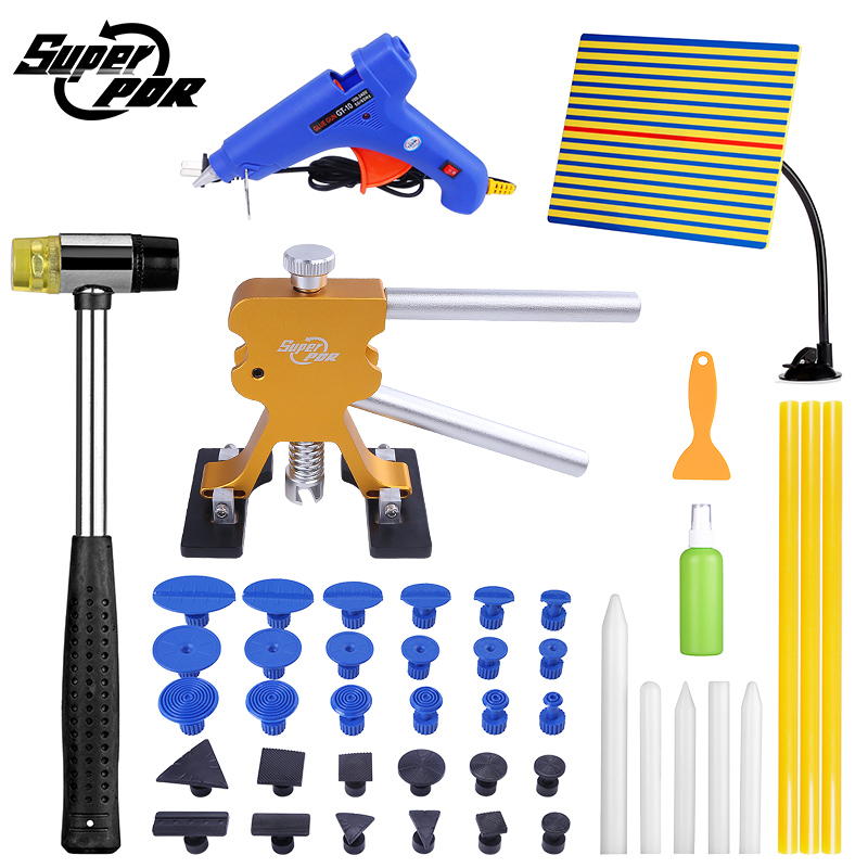 Super PDR Tools Kit Car Dent Repair Tool Set Paintless Dent Repair Tools Set Glue Puller Glue Tabs lamp board Tools 5 second fix liquid plastic welding kit uv light repair tool glue kit