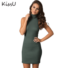 Kissu herbst backless strick bodycon dress frauen zurück quer kurze dress winter rippen schwarz sexy dress 2017 abend vestidos 50