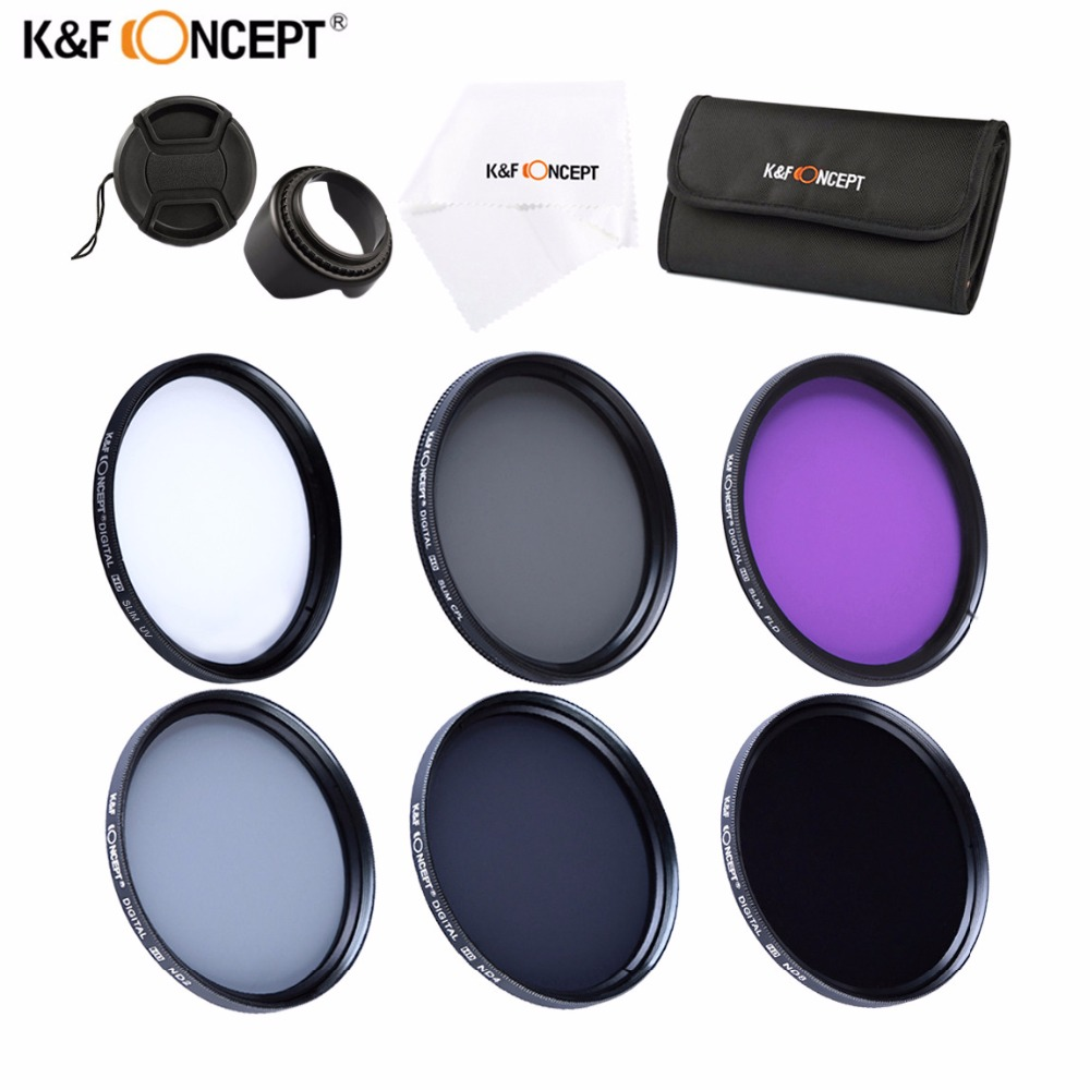 K&F 37mm 49mm 55mm 67mm 6pcs UV CPL FLD ND2 ND4 ND8 Neutral Density Camera Lens Filter Set with Filter Bag For Canon Nikon Sony