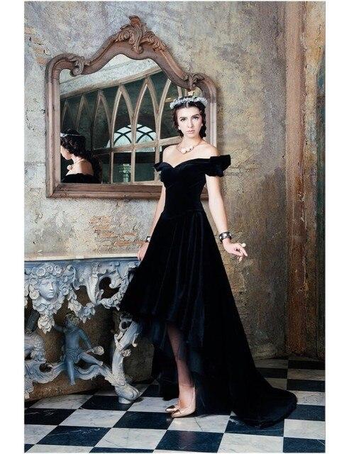 29d3f35f317 robe soiree Hot Sale Saudi Arabian abendkleider Black Velvet Evening  Dresses Short Front Long Back Gowns vestido de festa