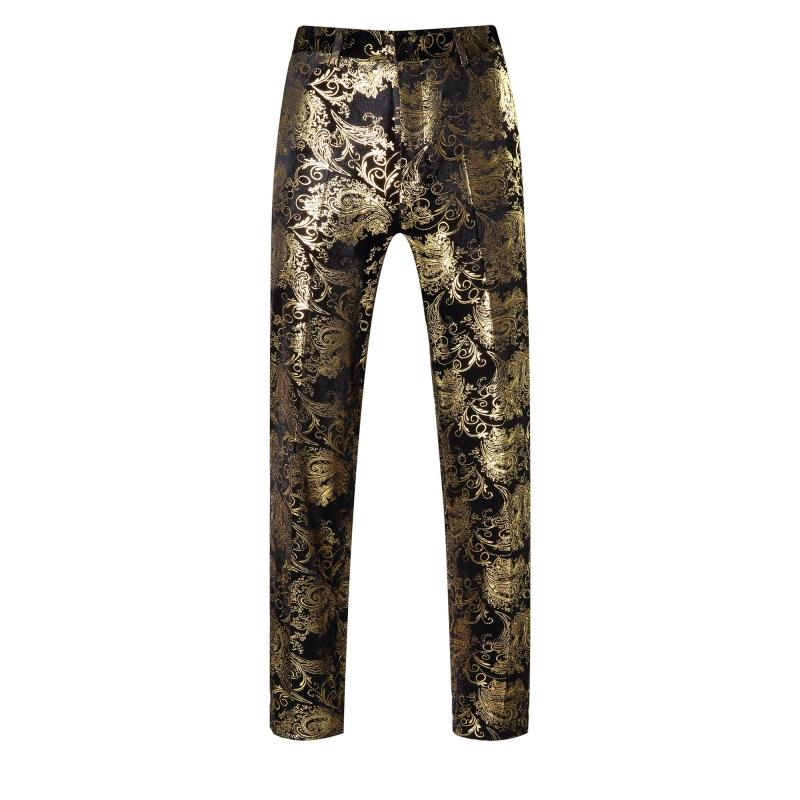 2016 Autumn Men's Fashion Gold flower print Casual Pants Male singer personality stage show performance trousers