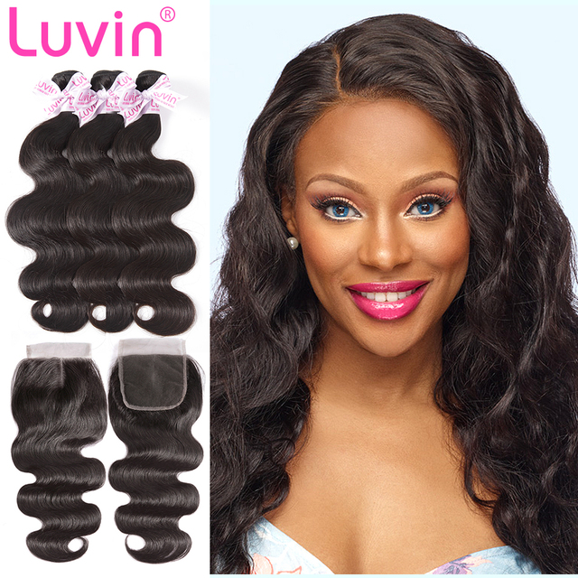 Luvin Cheap Brazilian Hair Weave Bundles Body Wave Human Hair 3 4 Bundles  With Closure Wavy And Lace Closure Remy Hair Extension 6c93a4d8b512