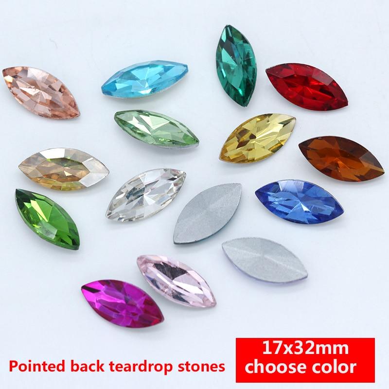 50pcs 5x10mm navette rhinestone glass crystal bead nail art foiled point back