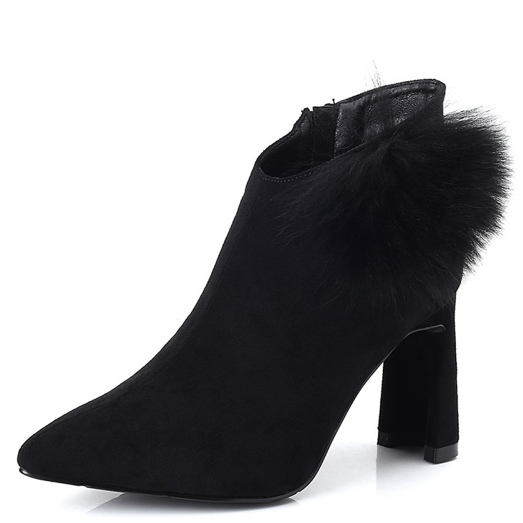 2017 autumn and winter new plus velvet high heeled boots