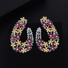 SISCATHY Charm Cubic Zirconia Statement Earrings For Women Trendy Leaves Girls Stud African Dubai Fashion Jewelry