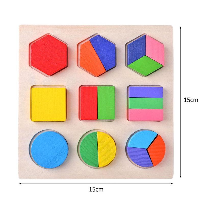 Wooden Geometric Shapes Montessori Puzzle Sorting Math Bricks Preschool Learning Educational Game Baby Toddler Toys for Children 6