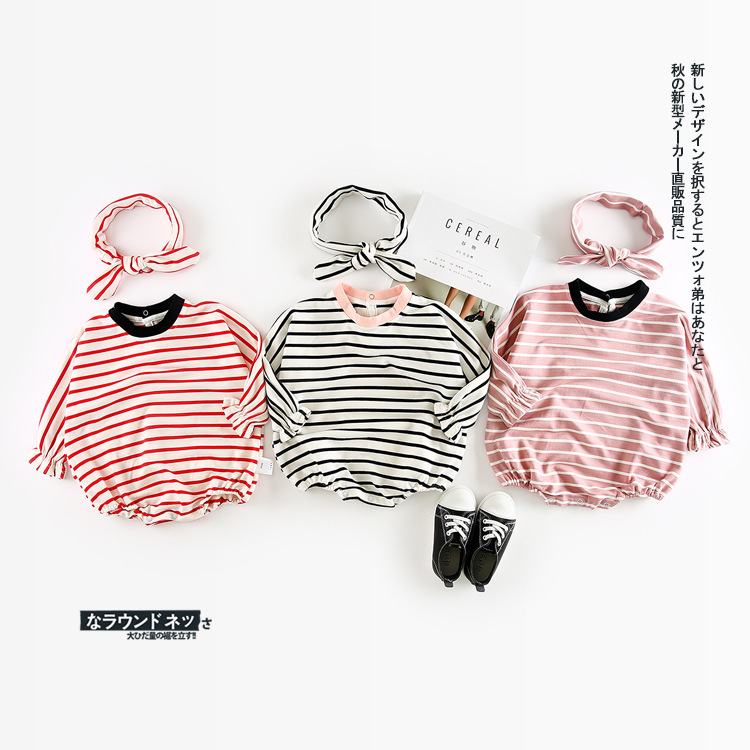 2018 Autumn New Arrival cotton Cute Stripe climbing pp bodysuit with Harbin Dispensing Belt for cute sweet baby girls and boys(China)