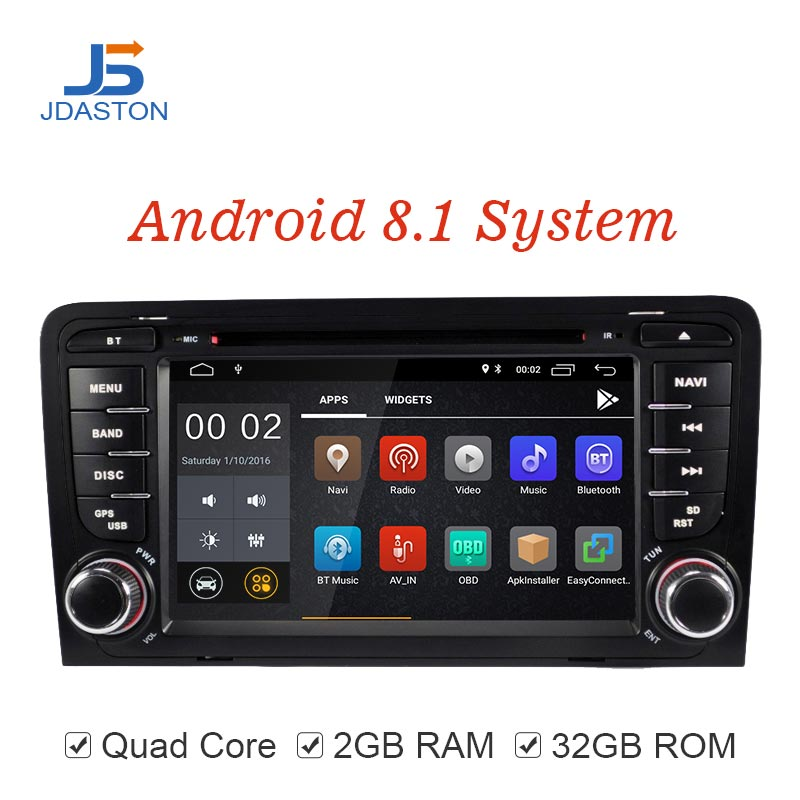 JDASTON Android 8.1 Car DVD Player For AUDI A3 S3 2Din Radio Car Multimedia Player GPS Navigation Stereo Autoaudio IPS Bluetooth