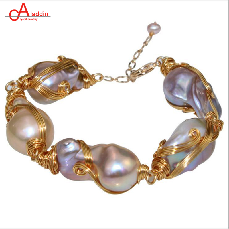 Aladdin New Arrival Baroque Pearl Bracelet Punk 14K Gold Woven Dazzle Bangle Natural Beads Woman's Valentine's Day Jewelry Gifts