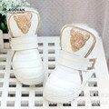 Koovan niños botas 2017 piel verdadera cabeza de leopardo niños de los niños Niños Y Niñas de bebé de Invierno Botas de Terciopelo de Algodón Caliente shoes
