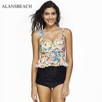 ALANSBEACH V Neck Bikini Skrit High Waist Swimsuit Print Padded Bow Women Bikini Swimwear Beach Padded